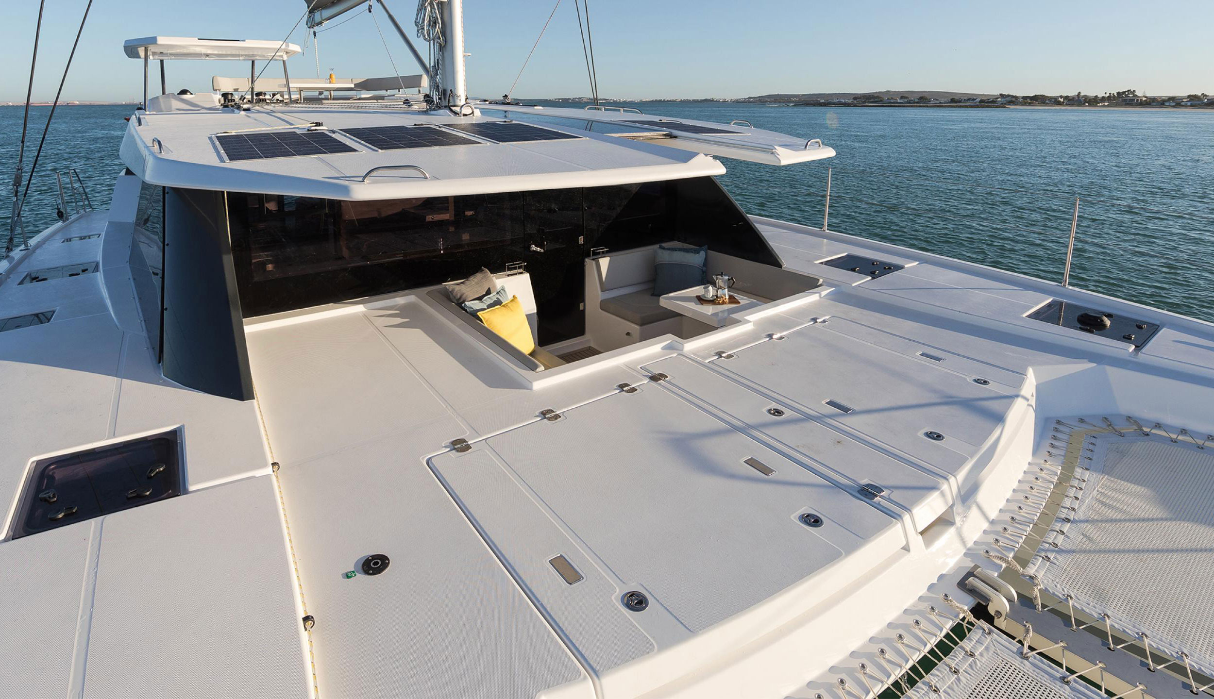 Leopard catamaran forward cockpit